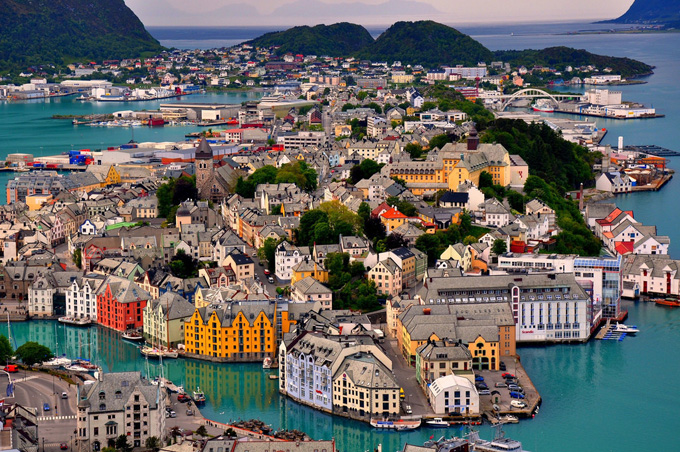 Norway Alesund Birdseye of City