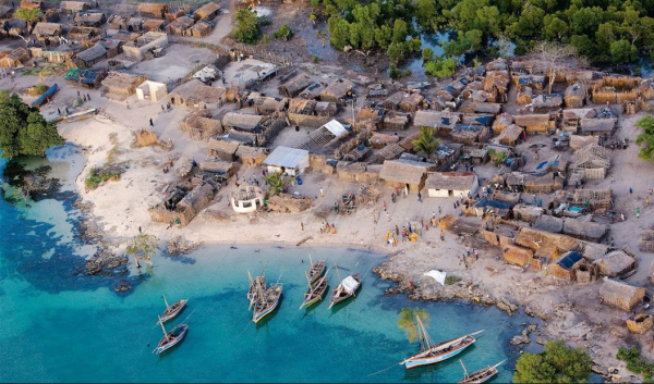 Beautiful African sea side village
