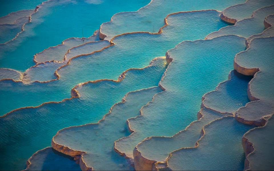 #Travertine terraces of Pamukkale, Turkey