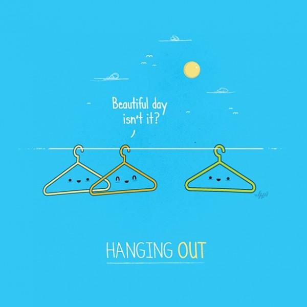 hanging out - 16 ξεκαρδιστικά λογοπαίγνια από… καθημερινά αντικείμενα! - σκιτσο, λογοπαίγνιο