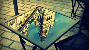 Grand Palace Reflected On Table In Lille, France