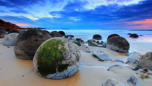 The Moeraki Boulders (Dragon Eggs) In Koekohe Beach, New Zealand