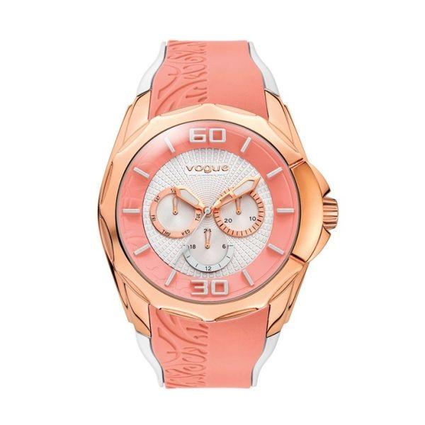 Εντυπωσιακό γυναικείο ρολόι της Breeze από ροζ επιχρυσωμένο ανοξείδωτο  ατσάλι με ροζ χρυσό καντράν και λευκό καουτσούκ λουράκι. 094e4ffc477