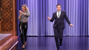 THE TONIGHT SHOW STARRING JIMMY FALLON -- Episode 0459 -- Pictured: (l-r) Fashion Model Gisele Bündchen teaches host Jimmy Fallon how to walk the runway on April 27, 2016 -- (Photo by: Andrew Lipovsky/NBC)